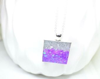 Resin Pendant, Purple Necklace, Silver Necklace