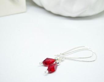 Red Earrings, Silver Earrings, Valentine Earrings, Dangle Earrings