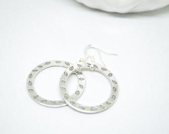 Hoop Earrings, Silver Earrings, Dangle Earrings, Leaf Earrings