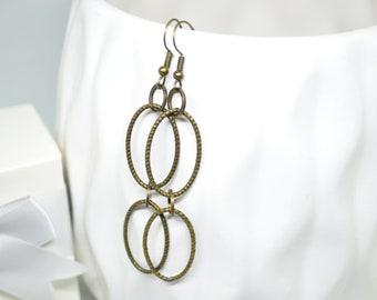 Copper Earrings, Hoop Earrings, Dangle Earrings, Double Hoop Earrings