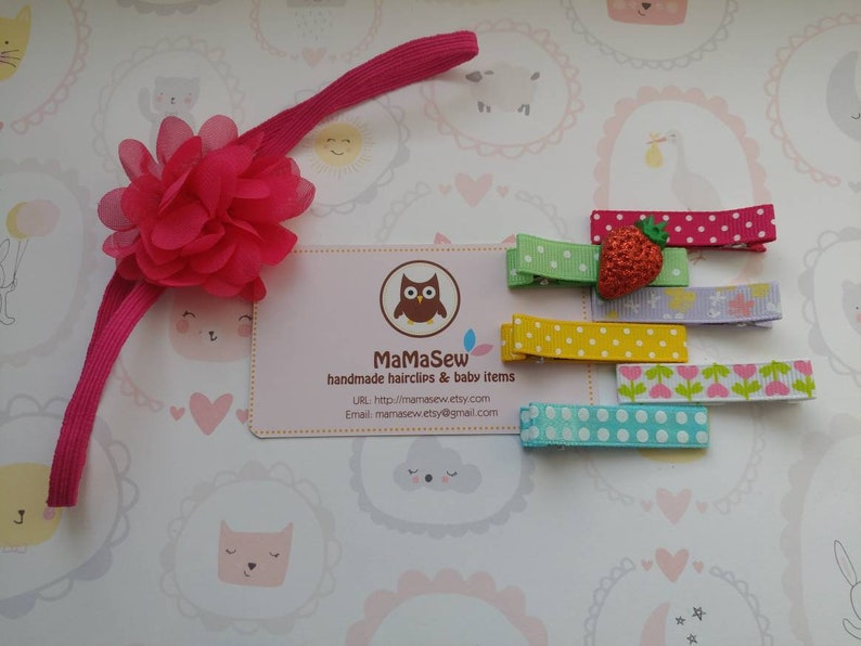 Alligator Clip with Silicone Non-Slip Grip Spring Blossom Bundle 2 Set of 7 - Head band and Hair Clip for Baby Toddler Young Girls