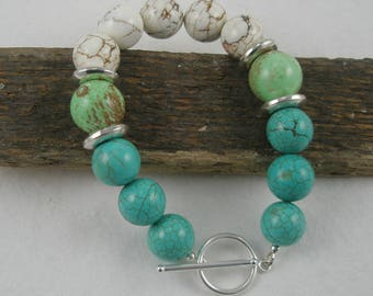 Turquoise, Mint Green and White Bracelet