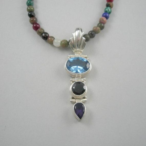 Modern Handcrafted Natural Gemstone Y Necklace. Max Length 29 InchesAdjustable Natural Jade Sterling Silver Y NecklaceChoker