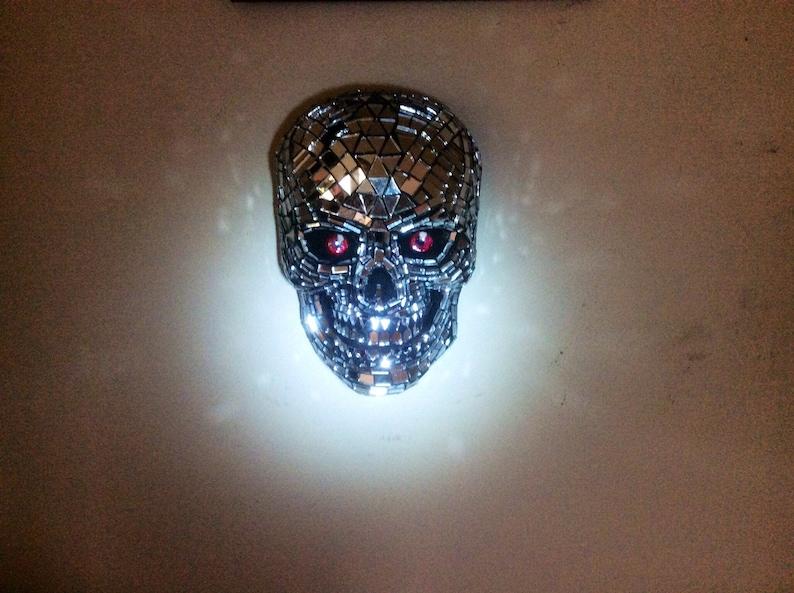 Mosaic Mirrored Concrete Skull