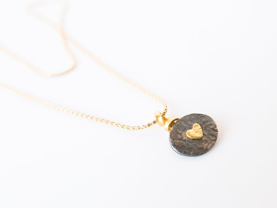 Gold Heart Oxidized Silver Circle Small Petite Pendant on Solid Gold Chain Fine Jewelry Gift for Heart Lover Sweetheart Anniversary Love