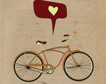 Bicycle Art Print, Giclee Print Bike Poster, Antique Bike Print Wall Decor, Retro Cycling Giclee Print, Digital Illustration Bicycle