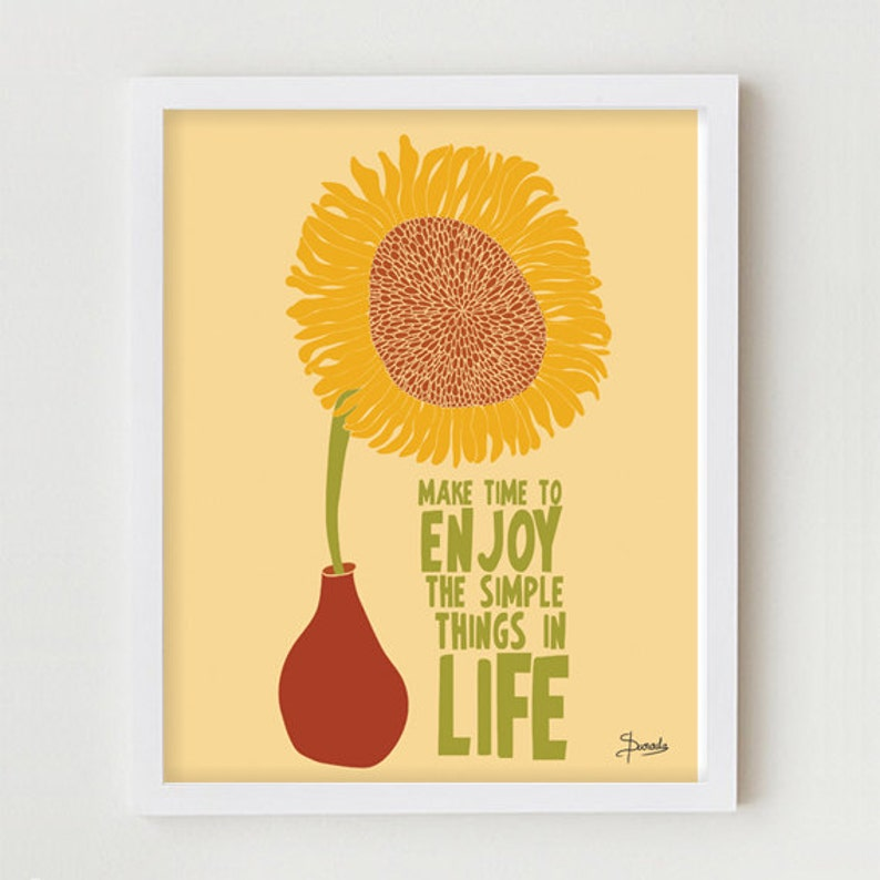 Typographic Print Motivational Quote Sunflower Poster image 0