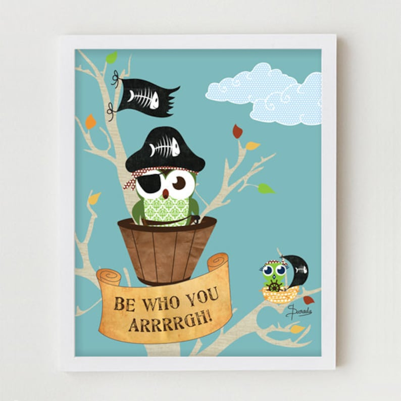 Owl Poster Childrens Wall Art Pirate Owls Boy\'s Bedroom   Etsy