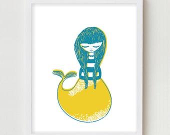 Mermaid Illustration Art Print Nautical Art Girls Bedroom Wall Art Illustration Yellow Pink Blue And Green Mermaid Prints Art Nautical Print