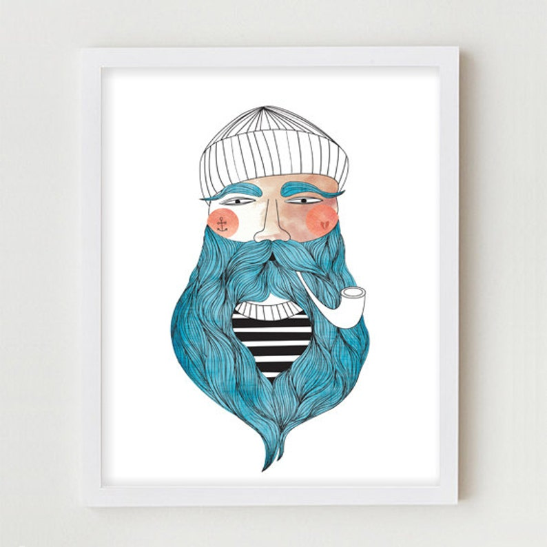 Sailor Illustration Giclee Print Fisherman Portrait Drawing image 0