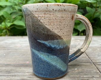Ceramic Mug - Coffee Cup in tricolors - Midnight Blue, Toasted Cream and green