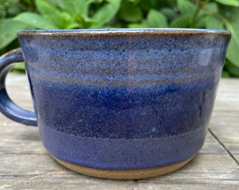 "Ceramic Mug -"" Low  Rider"" Soup Mug - Nantucket Blue and Deep Lavender"