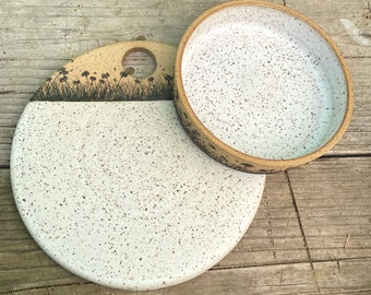 Cheese Stone and small bowl set Wild Field Pattern - Tapas Plate - Natural Clay