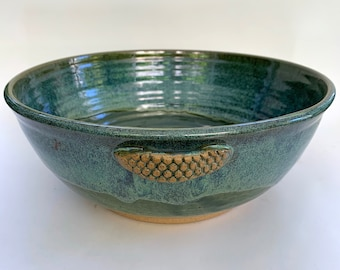 Large Serving Bowl , Salad Bowl in grassy green  with highlight and handles