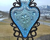 Upcycled Azure - Vintage spade-shaped dish given new life as a Windchime