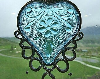 Azure Love - Retro heart-shaped dish upcycled into a Windchime