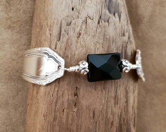 "Spoon Bracelet - Stunning Silverware Bracelet with Black Onyx - Size Medium (6 3/4"")"