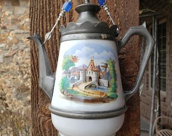 1800's German Castle Enamelware Teapot Wind Chime