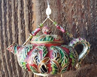 Little Birds Flora and Fauna Cloisonne' Mini Teapot Chime