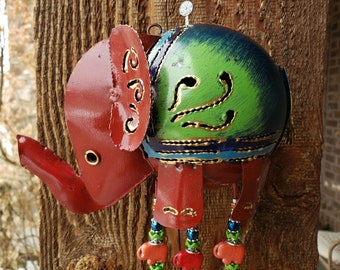 Whimsical Elephant Wind Chime Upcycled from a Tea Lite Candle Lantern