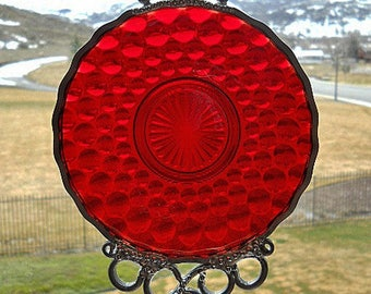 Ruby Bubbles - Antique saucer given new life as a Windchime
