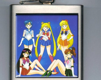 Sailor Moon Scouts Inspired Liquor Hip Flask