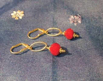 Cherry Red and Vermeil Earrings