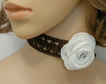 Brown Crochet Choker or Headband with White Crochet Rosette, Crochet Lace, Lace Choker, Flapper, Flower, Flower Choker, Necklace, Swarovski