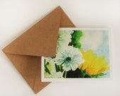 watercolor sunflower and mums greeting card