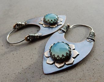 Tribal Priestess Lotus Hoops with Chalcedony, Psychic Awareness, Mythical Realms, Deep Wisdom, Balancing, Nurturing, Metalsmithed Earrings