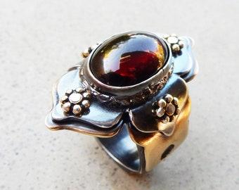 Lotus Ring with Labradorite Healer Protective Yoga Zen Indian Chakra Work Mystical Adjustable Size Chakra Balancing Energy Worker