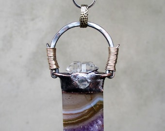 RESERVED for JILL, Dancing Earth Mother filled with Om Vibration, Tribal Amulet with Amethyst Drusy Geode and Twin Soul Tibetan Quartz