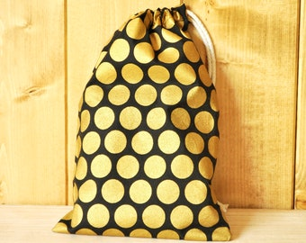 Drawstring Pouch - Reusable Gift Bag - Gold & Black