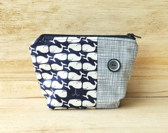 NEW! Cosmetics Pouch with Vintage Button - Zipper Pouch - Toiletries Bag - Navy Blue Whales- OOAK