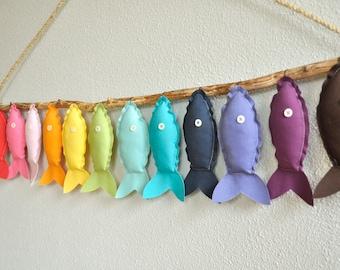 Twelve Rainbow Fish - Nursery Wall Decor