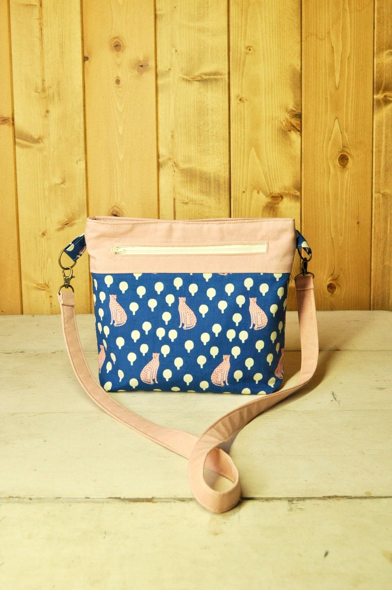Convertible Cross-Body Bag in Blue & Peach Cheetah Print and image 0