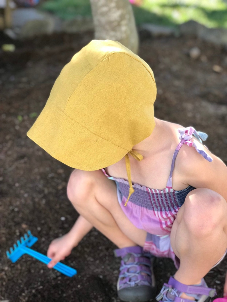 Linen Baby/Toddler Bonnet  Mustard Yellow  Sizes 0 Months to image 0