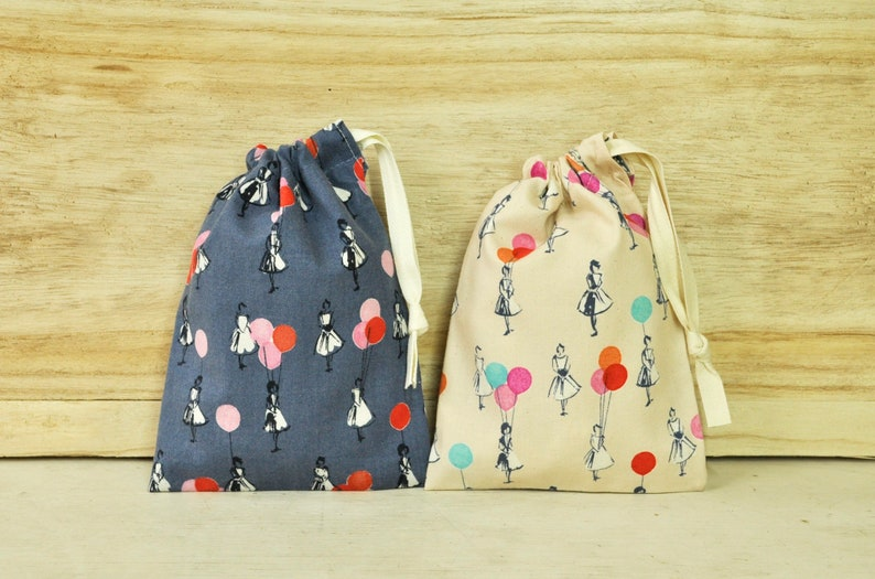 Drawstring Pouch  Reusable Gift Bag  Girls With Balloons  image 0