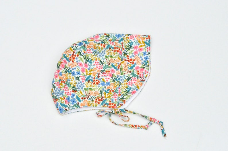 Baby Bonnet with Visor Colorful Floral Print on Natural image 0
