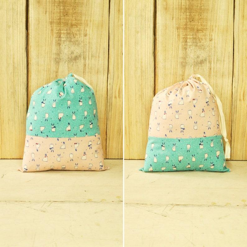 Reusable Fabric Gift Bag  Holiday Bunnies in Aqua Blue & Pink image 0