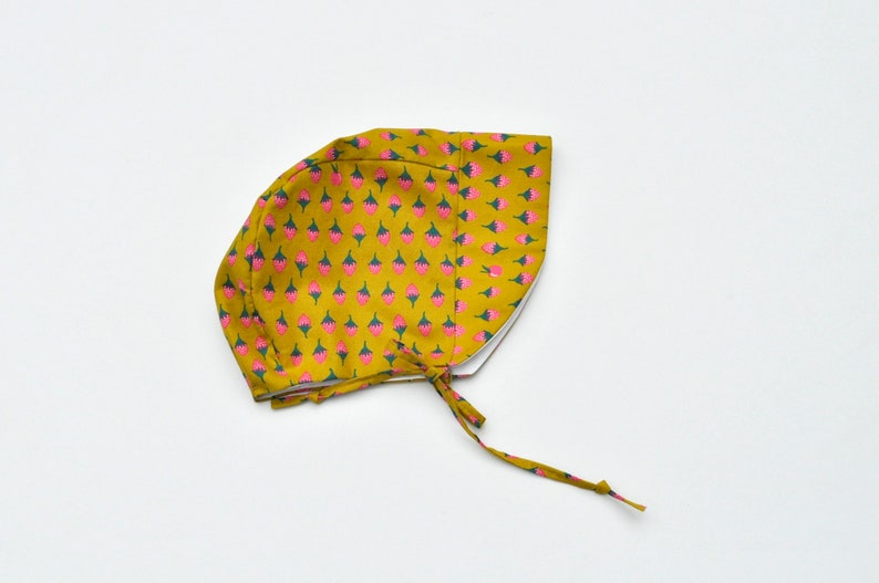 Baby Bonnet with Visor  Strawberry Print on Mustard Yellow  image 0