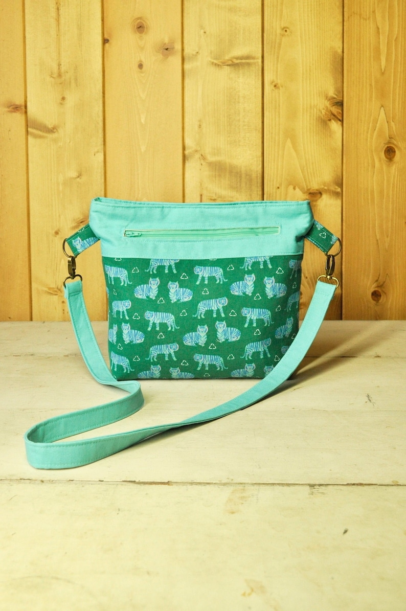 Convertible Cross-Body Bag in Green & Blue Tiger Print and image 0