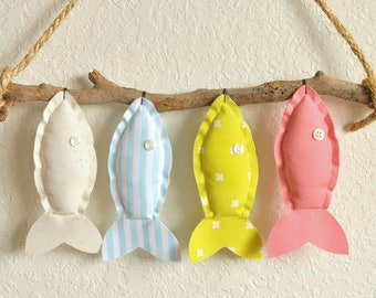 Custom Four Colorful Hanging Fish - Nursery Wall Decor