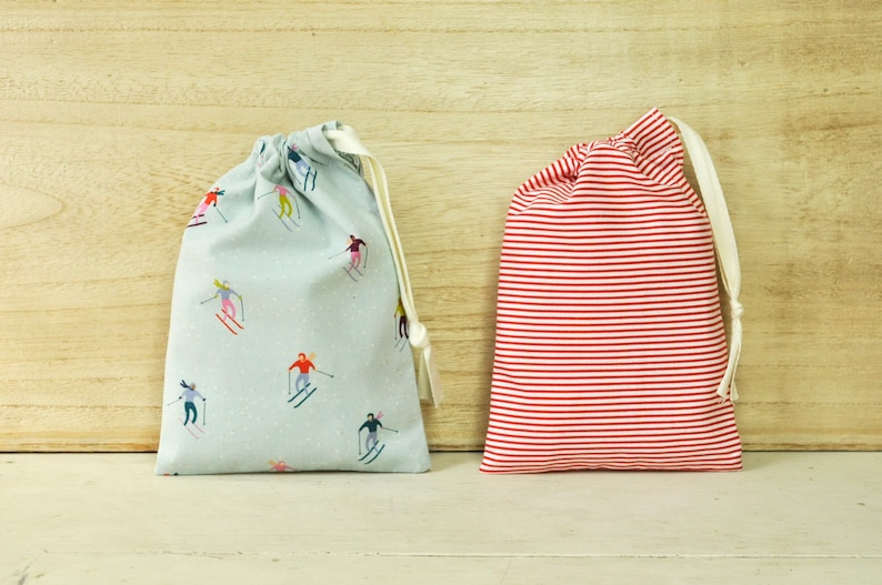 Drawstring Pouch  Reusable Gift Bag  Holiday Skiers and image 0