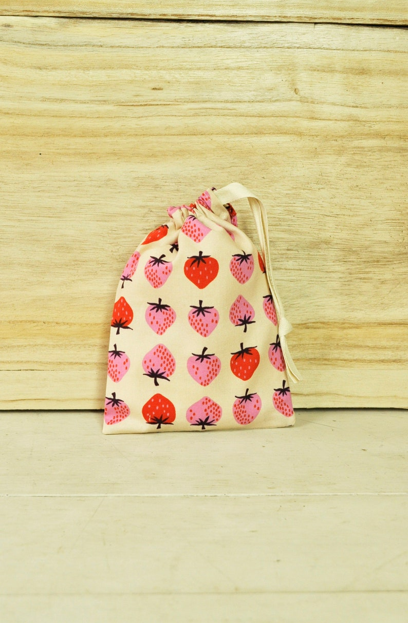 Small Drawstring Pouch  Reusable Gift Bag  Strawberries on image 0