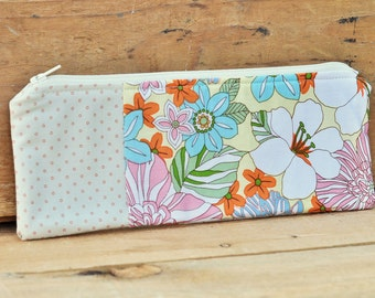 Pencil Pouch with Colorful Pastel Floral Print Polka Dot Pink Aqua OOAK