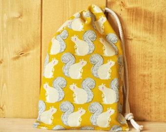 Drawstring Pouch - Reusable Gift Bag - Squirrel Print