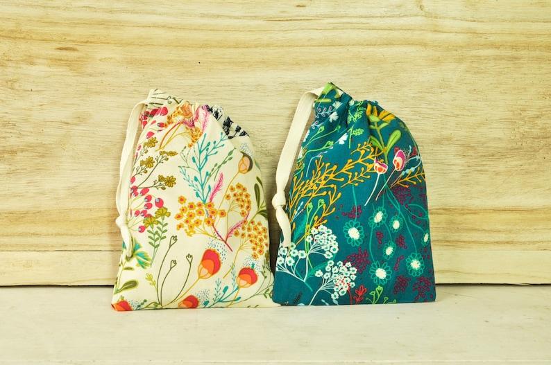 Drawstring Pouch  Reusable Gift Bag  Folk Floral Prints  image 0