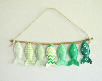 Custom Seven Green Fish - Nursery Wall Decor