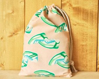 Drawstring Pouch - Reusable Gift Bag - Shoe Print